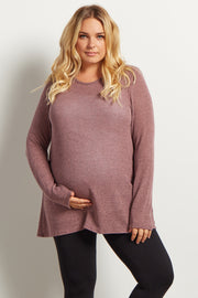 Mauve Heathered Scoop Back Knit Plus Maternity Tunic
