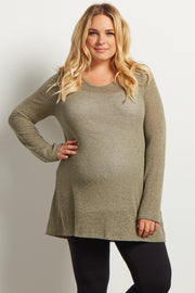 Olive Green Heathered Scoop Back Knit Plus Maternity Tunic