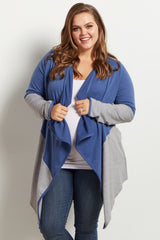 Blue Colorblock Open Front Draped Maternity Plus Cardigan
