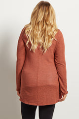 Rust Heathered Cowl Neck Knit Maternity Plus Top