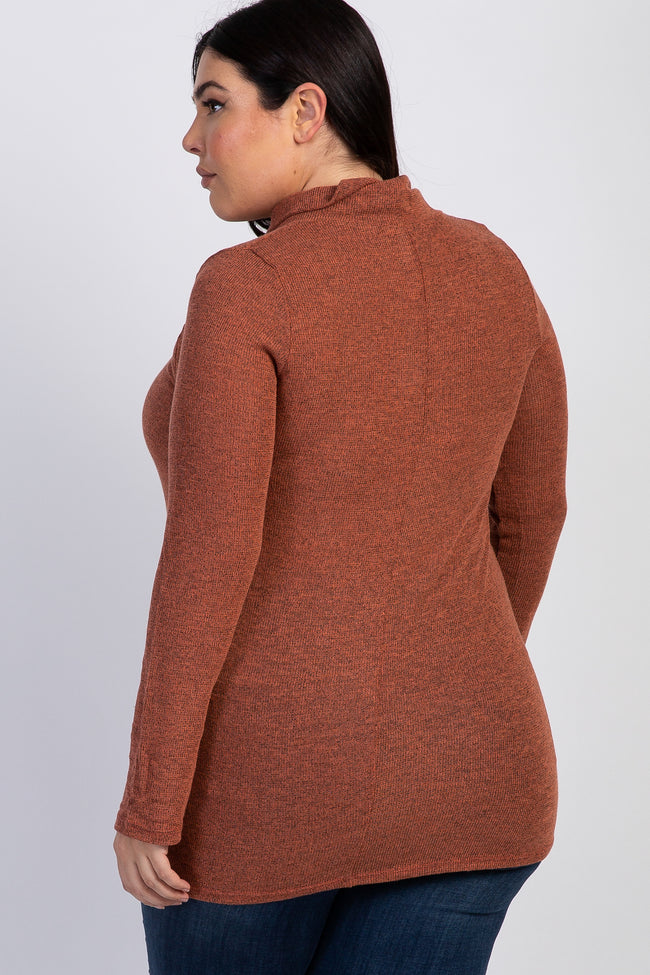 Rust Heathered Cowl Neck Knit Plus Top