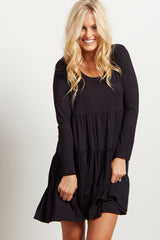 Black Solid Long Sleeve Tiered Dress