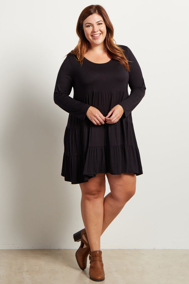 Black Solid Long Sleeve Tiered Plus Dress