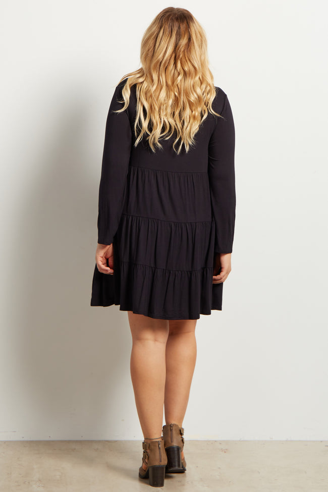 Black Solid Long Sleeve Tiered Maternity Plus Dress