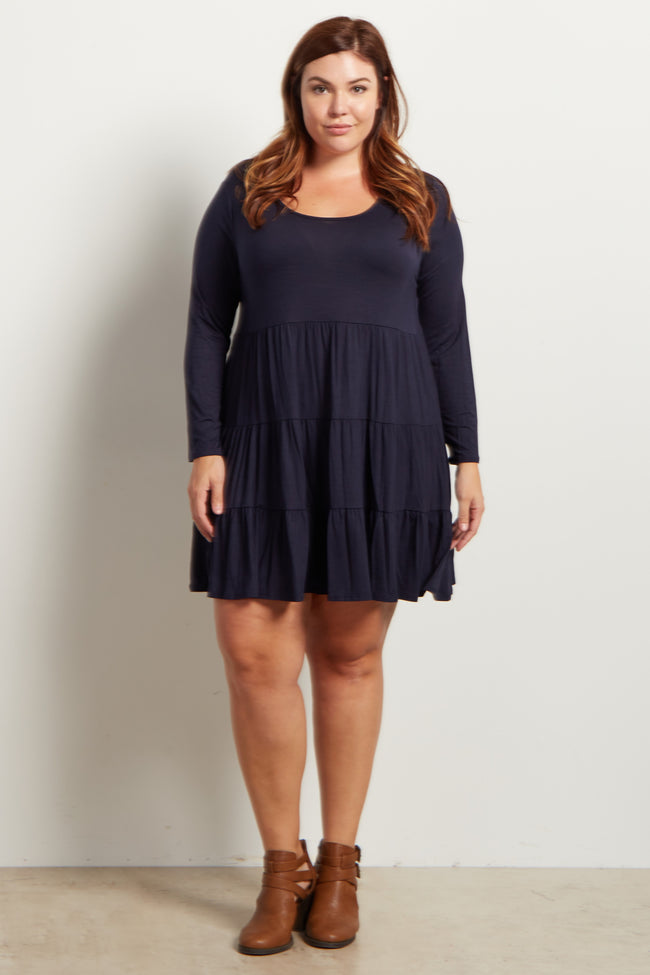 Navy Blue Solid Long Sleeve Tiered Maternity Plus Dress