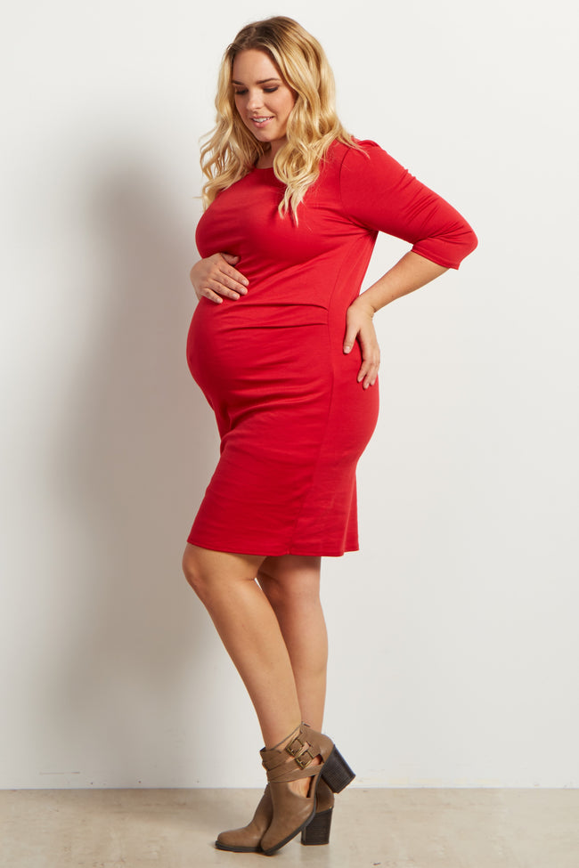 Red Solid Fitted 3/4 Sleeve Maternity Plus Dress
