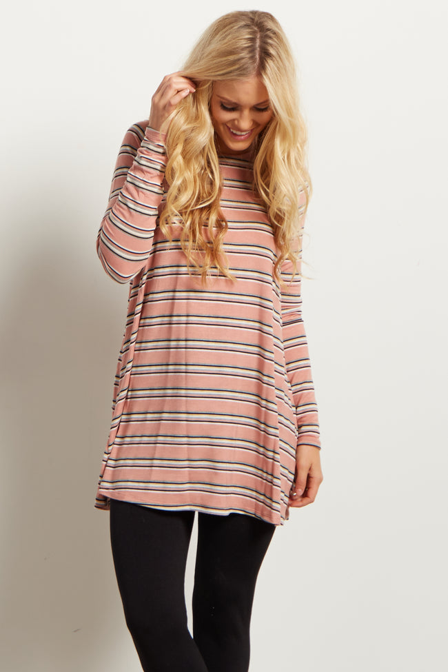 Pink Striped Long Sleeve Ribbed Top