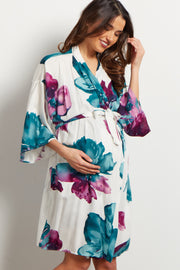 Ivory Watercolor Floral Delivery/Nursing Maternity Robe