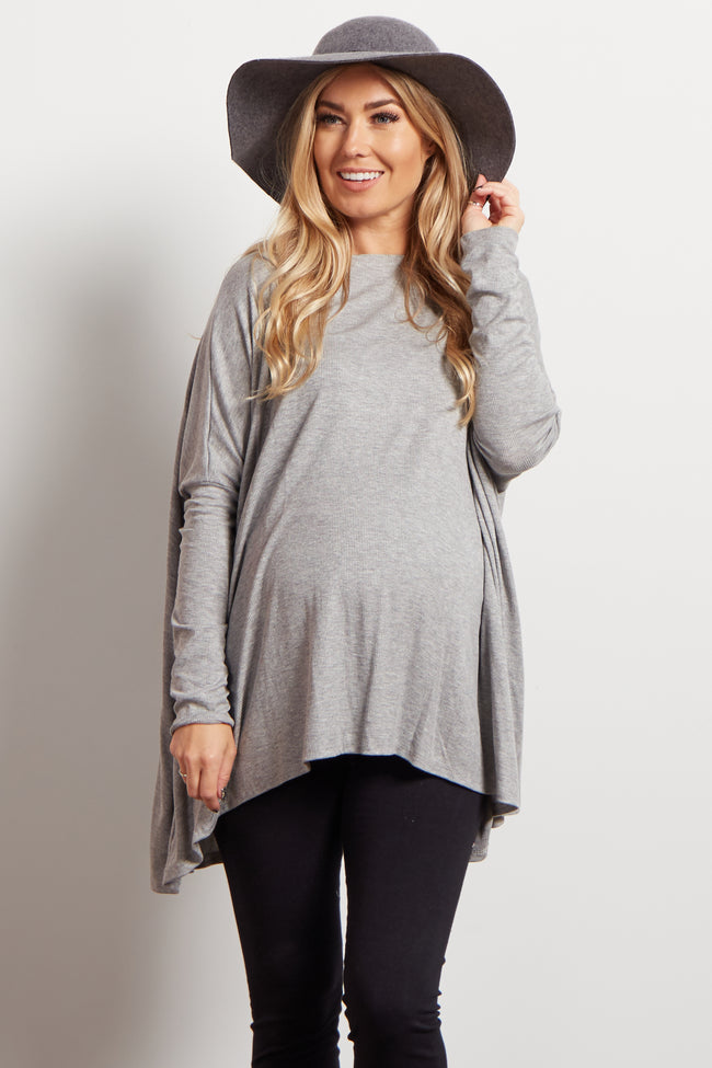 Grey Dolman Sleeve Ribbed Maternity Top