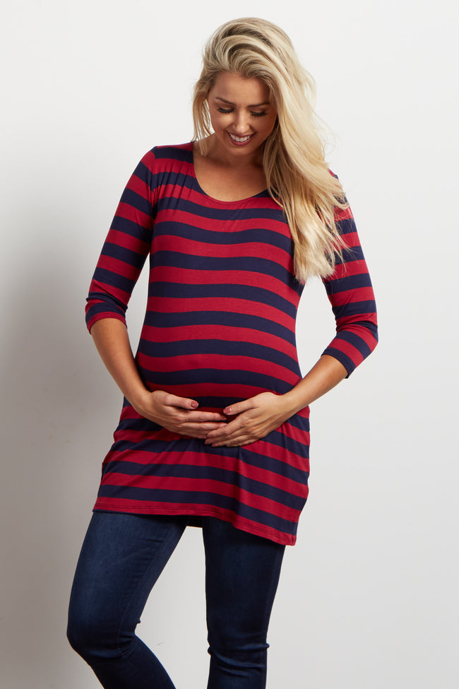 Burgundy Striped 3/4 Sleeve Maternity Top