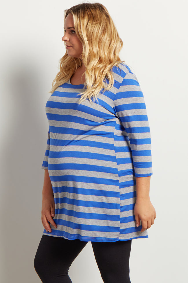 Blue Grey Striped 3/4 Sleeve Plus Maternity Top