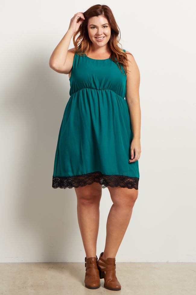 Teal Sleeveless Chiffon Lace Hemline Maternity Plus Dress