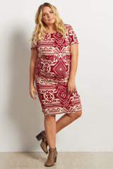 Burgundy Tribal Print Fitted Short Sleeve Maternity Plus Dress
