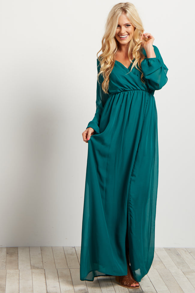 Green Solid Chiffon Long Sleeve V-neck Maxi Dress