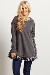 Charcoal Printed Trim Maternity Sweater