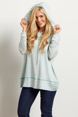 Mint Heathered Knit Hooded Sweater Top