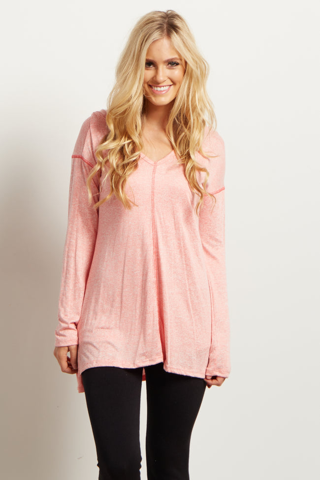 Peach Heathered V-neck Hooded Knit Top