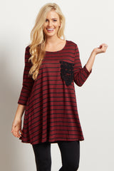 Burgundy Striped Knit Crochet Pocket Top