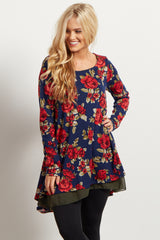 Navy Blue Floral Print Chiffon Lined Accent Knit Top