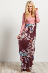 Mauve Floral Print Skirt Maxi Dress