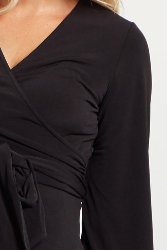 Black Solid Sash Tie Long Sleeve Wrap Maternity Maxi Dress