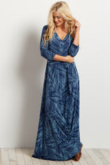 Blue Palm Print Sash Tie Wrap Maxi Dress