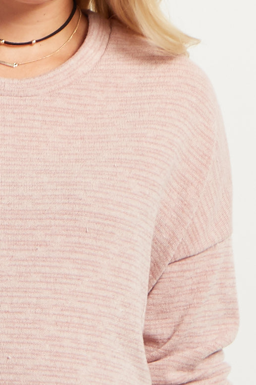 Pink Heathered Long Sleeve Knit Maternity Sweater