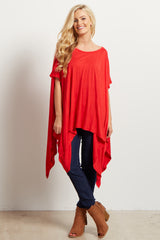Red Short Sleeve Asymmetric Dolman Top