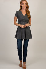 PinkBlush Charcoal Draped Front Nursing Top