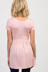 PinkBlush Light Pink Draped Front Nursing Top