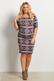 Burgundy Tribal Print Fitted Maternity Plus Dress