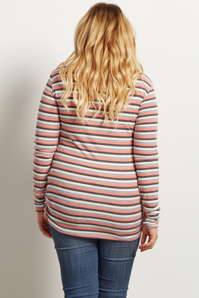 Coral Grey Stripe Ribbed Long Sleeve Maternity Plus Top
