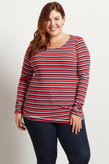 Navy Coral Stripe Ribbed Long Sleeve Plus Top