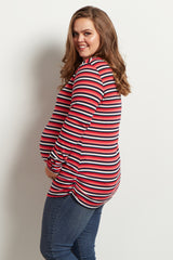 Navy Coral Stripe Ribbed Long Sleeve Maternity Plus Top