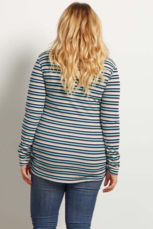Grey Aqua Stripe Ribbed Long Sleeve Plus Maternity Top