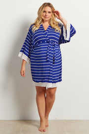 Blue Striped Lace Trim Delivery/Nursing Maternity Plus Robe