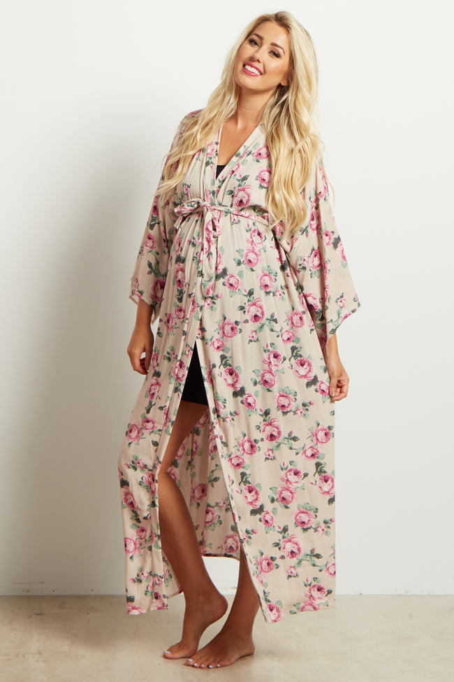 Taupe Floral Delivery/Nursing Long Maxi Maternity Robe