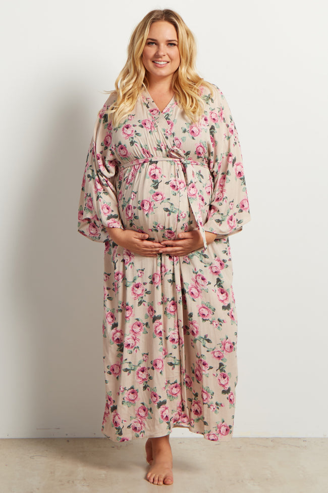 Taupe Floral Delivery/Nursing Maxi Plus Maternity Robe