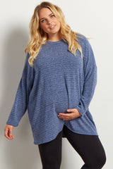 Blue Heathered Long Sleeve Knit Maternity Plus Sweater