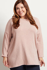 Pink Heathered Long Sleeve Knit Plus Sweater