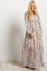 Taupe Floral Chiffon Long Sleeve V-neck Maxi Dress