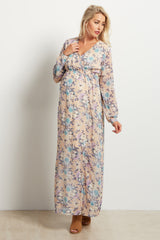 Taupe Floral Chiffon Long Sleeve V-neck Maternity  Maxi Dress