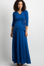 Royal Blue Solid Sash Tie Maternity Maxi Dress