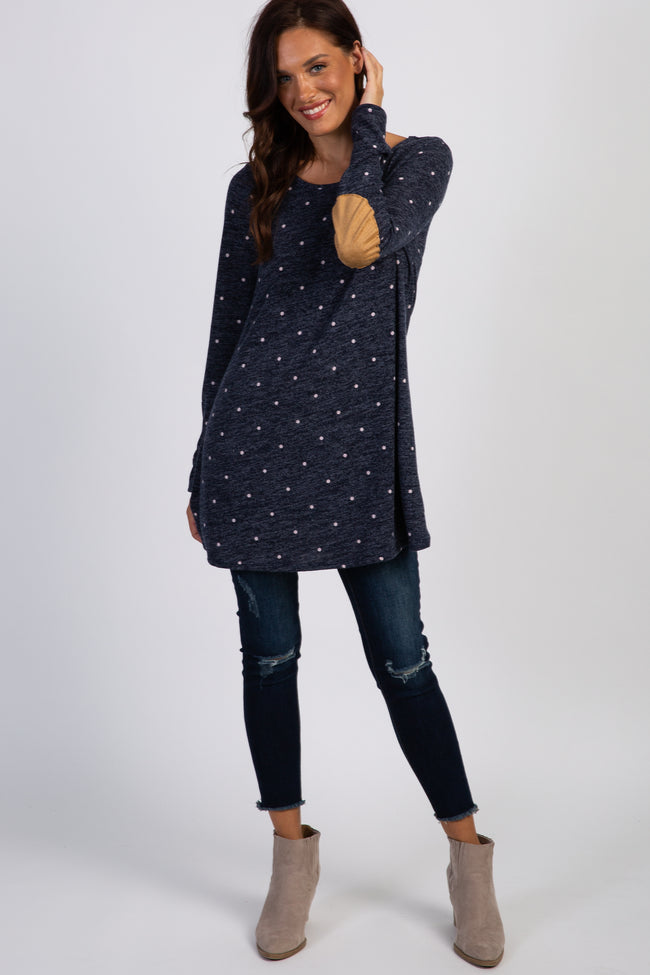Navy Blue Heathered Polka Dot Suede Elbow Patch Knit Top