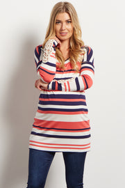 Coral Striped Crochet Accent Maternity Top