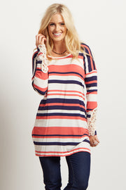 Coral Striped Crochet Accent Top