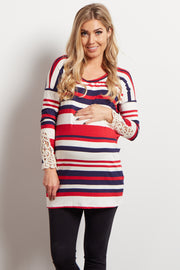 Red Striped Crochet Accent Maternity Top
