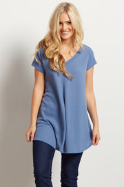 Periwinkle Short Sleeve Thermal Knit V-Neck Top