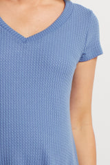 Periwinkle Thermal Knit V-Neck Maternity Top