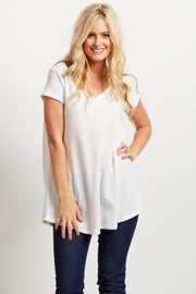 Ivory Short Sleeve Thermal Knit V-Neck Top